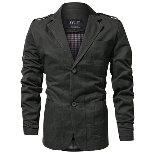 Hot Military Fashion Men Blazer Slim Fit Cotton Trend Washed Blazers Men Suits Casual Jacket Men Blazer Masculino Dropshipping - thefashionique