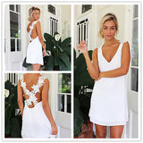 Hot Sale Backless Lace Crochet Women Mini Dress Sexy V Neck Back Cross Chiffon Summer Beach Mini Dress Vestidos - thefashionique