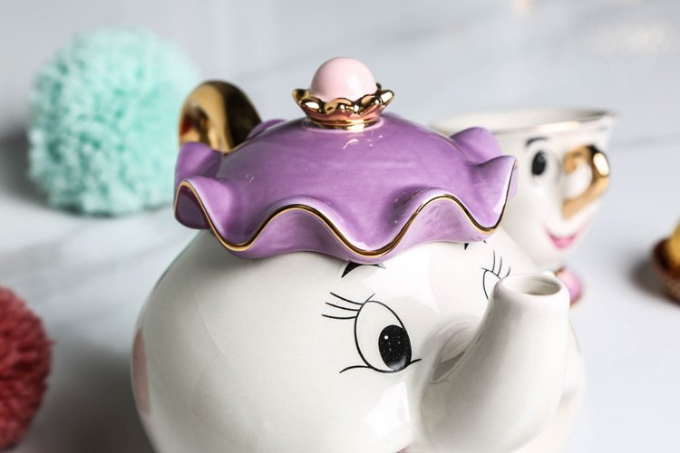 Hot Sale Cartoon Beauty And The Beast Teapot Mug Mrs Potts Chip Tea Pot Cup One Set Nice Christmas Gift Free Shipping - thefashionique