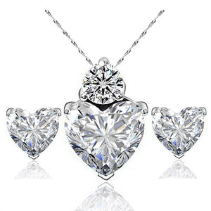 Hot Sale Classic Romantic Heart Shape Pendant Necklace Earrings Women Jewelry Sets Cubic Zirconia Engagement Wedding Jewelry - thefashionique