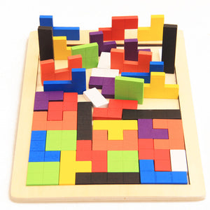 Hot Sale Kids Educational Montessori Wooden Tetris Game Jigsaw Puzzles Geometric Shape Slide Building Puzzle Children's Day Gift - thefashionique