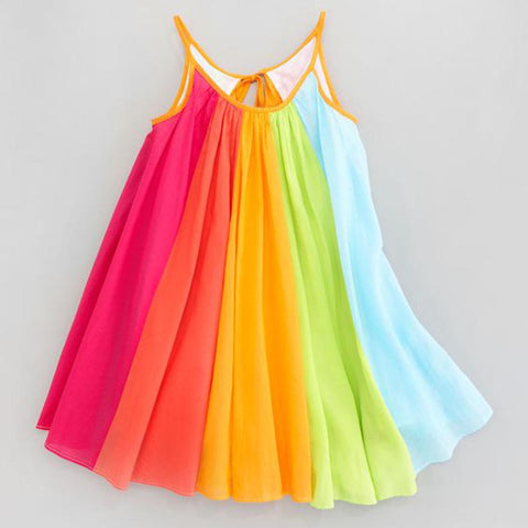 Hot Sale New 2018 Toddler Kids Baby Girl Princess Clothes Sleeveless Chiffon Tutu Rainbow Dresses baby  dress summer #15