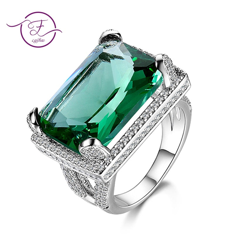 Giemi Fashion New Green Arrow Shape Luxury Rings 925 Sterling Silver Jewelry Accessories Pretty Good Gifts For Women Female Rings