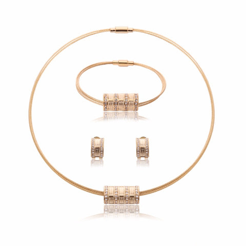 Hot Sale Stainless Steel Torques Necklace Earrings Bracelet Jewelry Set Gold Color Women Wedding Bridal Jewelry Set & More - thefashionique