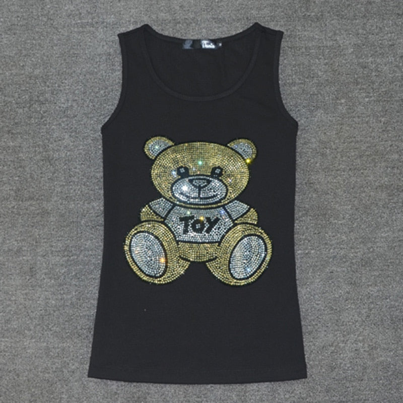 Hot Sale Summer Sleeveless t shirt women Ladies Multicolor Crystal Bear T-Shirt Vest Love Tank Tops Women's Cotton Tops Tees - thefashionique