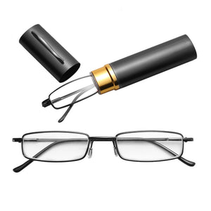 Hot Sale Unisex Stainless Steel Frame Resin Reading Glasses 1.00-4.00 With Tube Case Folding Anti Fatigue Presbyopic Eyeglasses - thefashionique