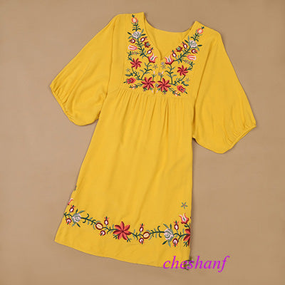 63e4b0fd56f79 Hot Sale Vintage 70s Ethnic Floral EMBROIDERED Hippie BOHO Mexican puff slv Blouse  DRESS One Size. prev