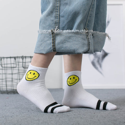 2e44ced7b Hot Selling Comfortable Smile Face Women Socks Stripe Cotton Soft socks  Multicolor Low Cut Ankle Casual