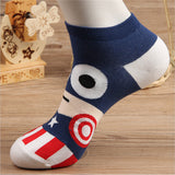 Hot sale! men socks cotton Superman SpiderMan Captain America Avenge men's and Male short sock colorful breathable cartoon socks - thefashionique