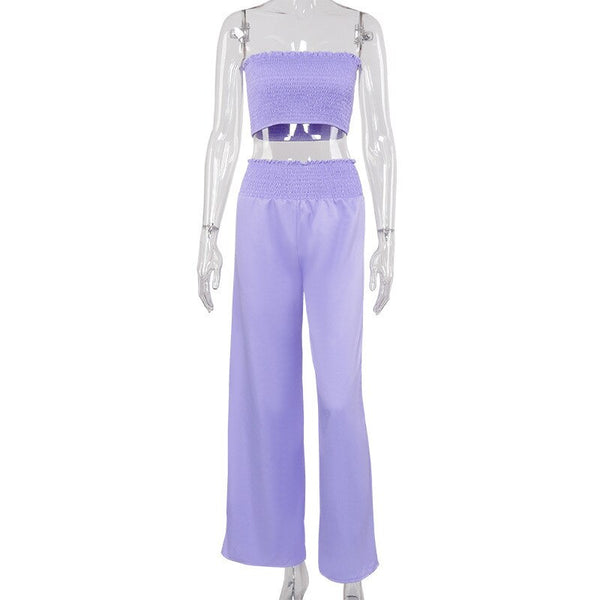 Hugcitar 2020 pleated sexy crop tube top wide leg pants 2 pieces set summer women fashion streetwear outfits tracksuit