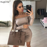 Hugcitar Long Sleeve off shoulder Women Suede Dress 2017 Autumn Winter Female sexy mini Bodycon party club Dresses pink black - thefashionique