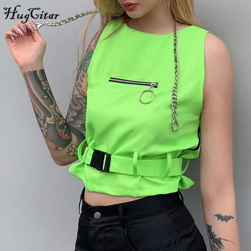 Hugcitar sleeveless neon green tank tops buckle band 2019 summer women fashion sexy streetwear party female crop tops - thefashionique