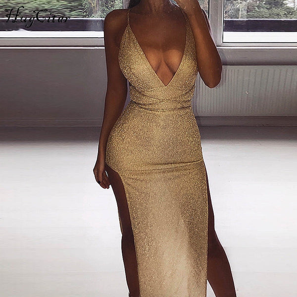Hugcitar spaghetti straps V-neck reflective backless high waist split sexy long dress 2019women bodycon fashion party club dress - thefashionique