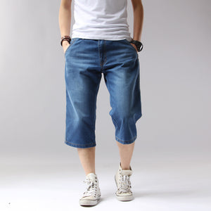 ICPANS Summer Denim Jeans Men Shorts Casual Solid Loose Shorts Cargo Knee Length Short Men  Big Size 38 40 42 44  A3229