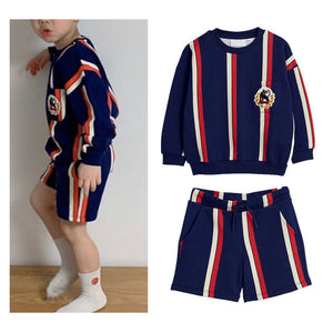 IN STOCK 2020MR Spring and Autumn Children's Set Fashion Boy Stripe Two-piece Stripe boy top and shorts