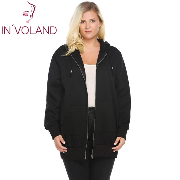 IN'VOLAND Women's Hooded Hoodies Big Size Autumn Winter New Zip Solid Casual Jacket Fleece Hoodies Coat With Pocket Plus Size - thefashionique
