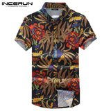 INCERUN Casual Mens Shirt Floral Print Slim Fit Short Sleeve Cotton Lapel Neck Blouse Streetwear Hawaiian Shirts Men 2019 S-5XL - thefashionique