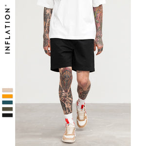 INFLATION 2018 Summer New Casual Shorts Men Cotton Sim Fit Solid Knee length High Quality Shorts 5 Colour Pick Pure Short 8416S - thefashionique