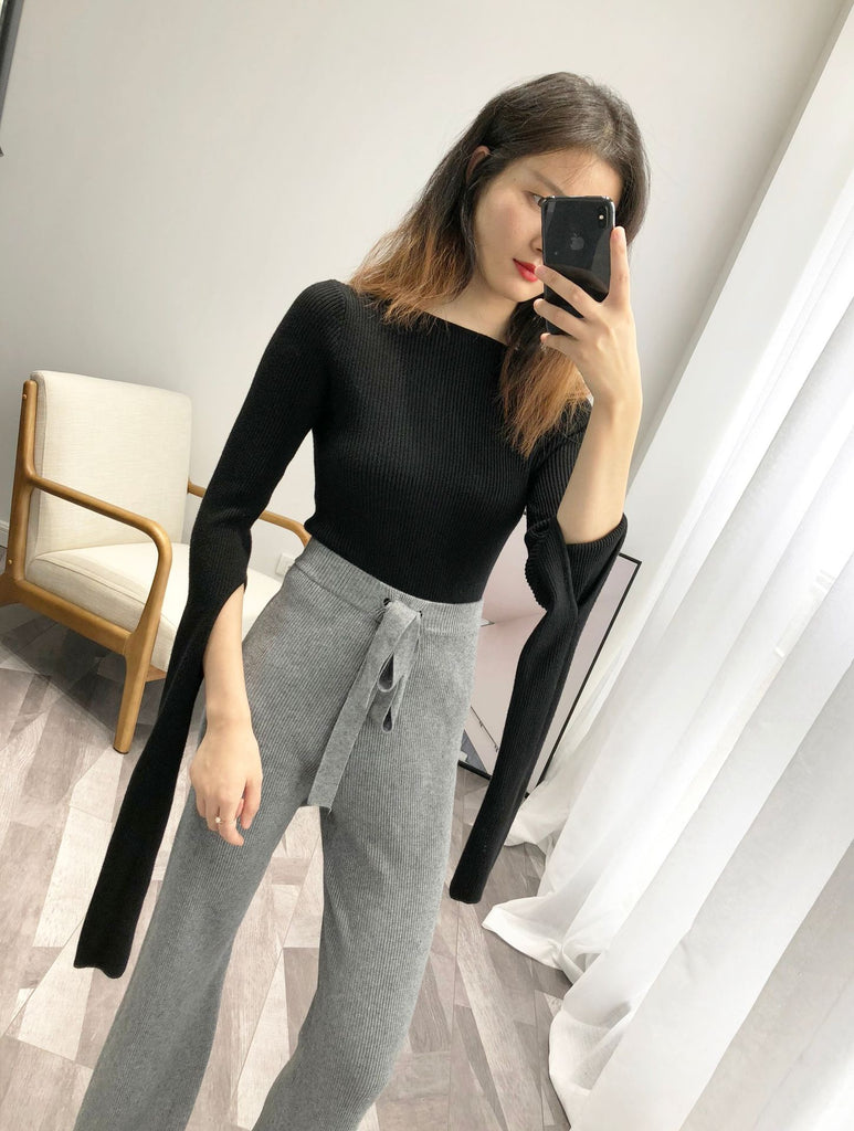 INNASOFAN wide leg pants for women Autumn-winter knitted trousers high waist Euro-American fashion elegant trousers solid color - thefashionique