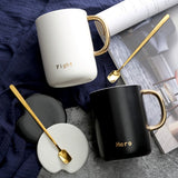 INS Black White Lovers Plating Gold Handle Mugs Cup Creative Milk Tea Drink Breakfast Ceramic Bronzing Hero Fighting Letter Cups - thefashionique