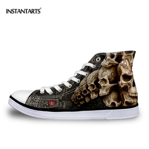 INSTANTARTS Cool Punk Skull Printed Men's High-top Canvas Shoes Breathable Casual Lace-up Vulcanized Shoes Men High Top Sneakers - thefashionique