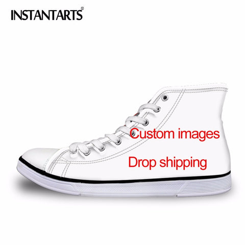 INSTANTARTS Men's Vulcanize Shoes Classic Superstar High Top Canvas Shoes Customized Images Drop Shipping Men Flat Sneakers