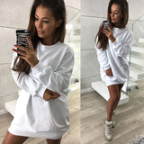 IYAEGE Women Sweatshirt Dress 2018 Spring Hoodie Dress Casual Solid Tracksuit Hoodies Dress Harajuku Party Dresses Vestidos - thefashionique