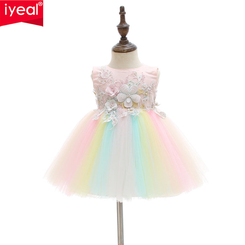 IYEAL Newborn Girls Dress for Wedding Party Baby Girl Rainbow Dresses for Toddler Girls 1 Years Birthday Baptism Gowns Clothes - thefashionique