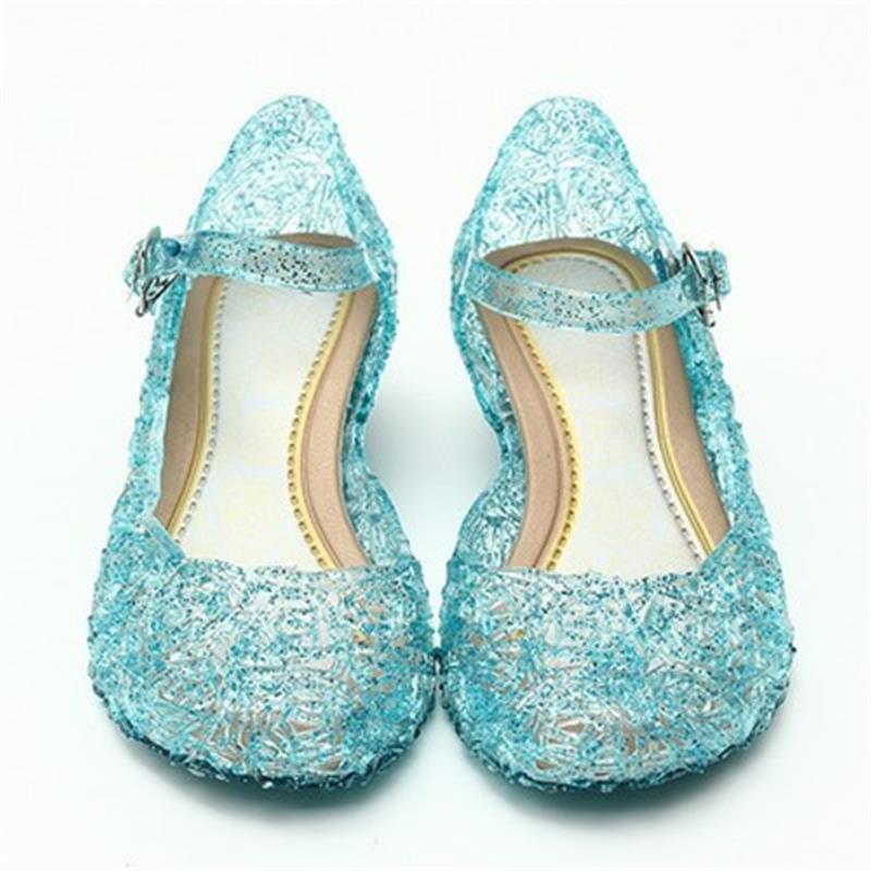 Ice Colors girl Shoes Children Casual kids Shoes Girl Princess Shoes Hole Elsa Anna Blue Crystal Shoes PVC Solid Toddler JM10 - thefashionique