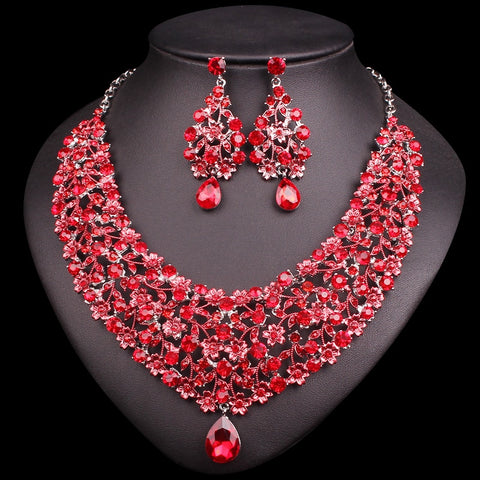 Indian Necklace Earring Set Bridal Jewelry Sets & More Red Rhinestones Party Wedding Costume Accessories Decoration Bride Women - thefashionique