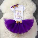 Infant Baby Girls Dress 1 year Floral Party Crown Romper + Tutu dress + Headband 3pcs Outfit for Kids First 1st Birthday Dresses - thefashionique