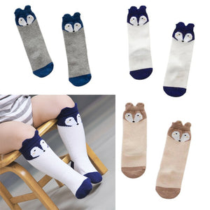 Infant Baby Long Socks Cotton Blend Toddler Soft Warm Anti Slip Knee Socks Cute Baby Short Sock Animals Fox Dog 3 Colors/lot