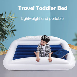 Inflatable Toddler Travel Bed with Safety Bumpers Portable Blow Up Mattress for Kids with Built in Bed Rail Navy blue