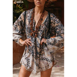 Inspired night floral print Long Sleeve boho Dress V-neck tied Brass Bead Spring Summer dress 2019 chic casual beach dress women - thefashionique