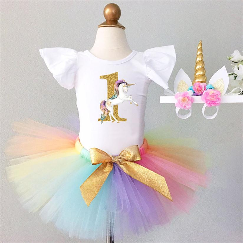 It's My Baby First 1st Birthday Unicorn Party Dress for Girl Colorful Unicorn Headband Outfits Newborn Tutu Babes Puffy Vestidos - thefashionique