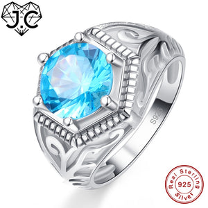 J.C Wedding Band Solitaire Fine Jewelry Blue Topaz Peridot Solid 925 Sterling Silver Ring Size 6 7 8 9 For Women Men Party Gifts - thefashionique