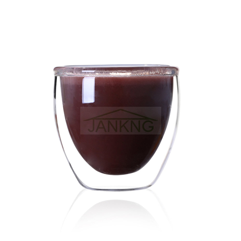 JANKNG 250ML/350ML Heat-resistant Double Wall Glass Cup Beer Coffee Cup Set Handmade Beer Mug Tea Mugs Transparent Drinkware - thefashionique