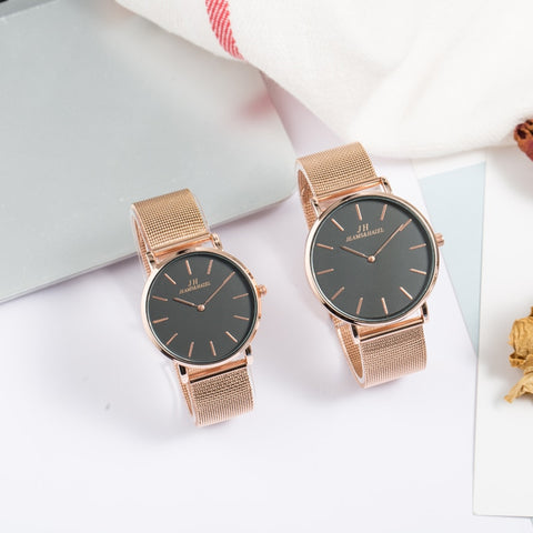 JEAMS&HAZEL men quartz business casual rose gold lovers couple watches set full steel for lovers