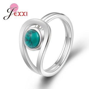 JEMMIN New Arrival Unique Design 925 Sterling Silver Rings Gorgeous Halo Opal Women Wedding Engagement Anniversary Jewelry - thefashionique