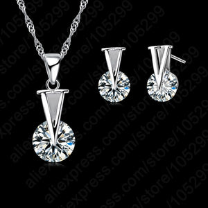 JEXXI Trendy Woman Jewelry 925 Sterling Silver Round Cubic  Chain Necklace Stud Earring Set Wholesale For Wedding Gift - thefashionique