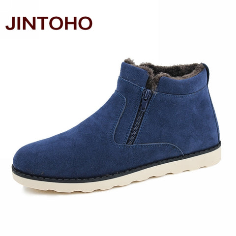 JINTOHO Big Size Men Shoes 2018 Top Fashion New Winter Casual Ankle Boots Warm Winter Fur Shoes Leather Footwear