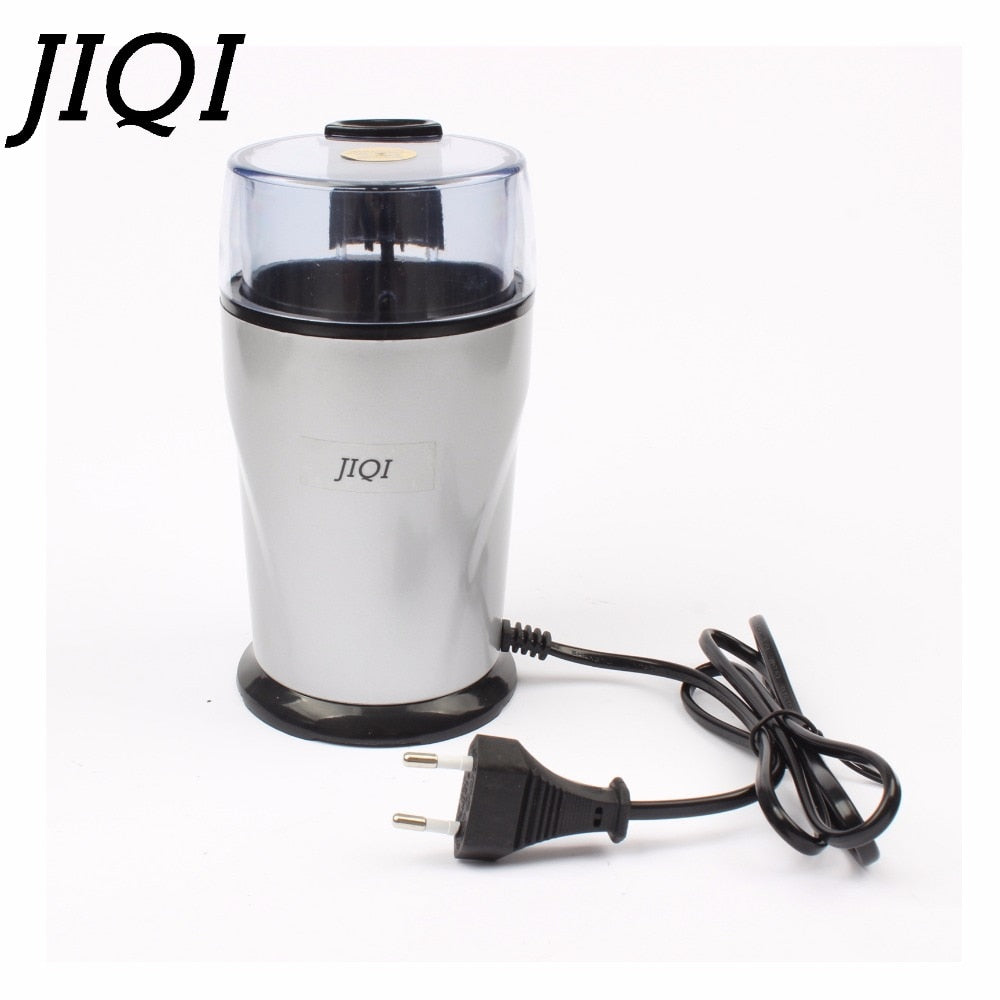 JIQI Electric Coffee grinder 220v-240V ELECTRICAL COFFEE herbs mill beans nuts grinding machine stainless steel blades Euro plug - thefashionique