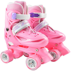 JK Kid's Roller Skates Size Adjustable Double Row Skates Two Line PU Roller Skate Shoes Child Teenagers 4 Wheels Patines SPK3