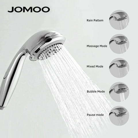 JOMOO Shower Head ABS Chrome Bathroom Bath Shower Water Saving High Pressure Round Shape Hand Shower 5 Jets 3.5 inch Nozzle - thefashionique