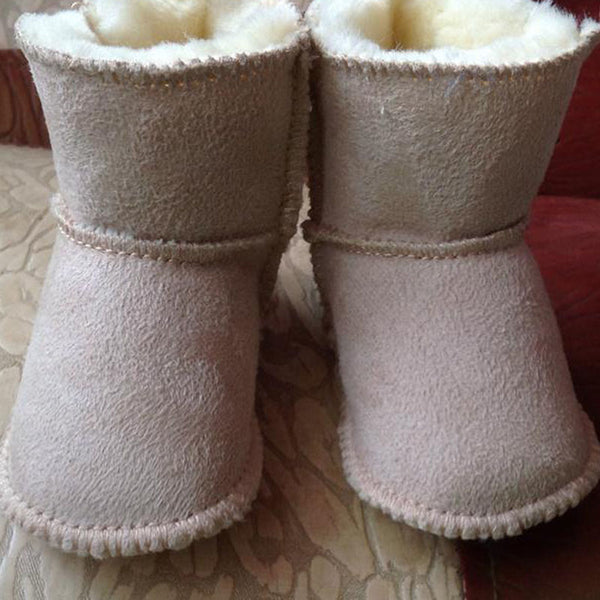 JOYHOPY winter baby First Walkers infants warm shoes Faux fur girls baby booties Leather boy baby boots - thefashionique
