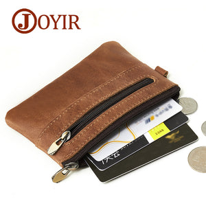 JOYIR Genuine Leather Slim Wallets Men Coin Purses Zipper Short Wallet Male Purse Card key Holder Small Men Mini Wallet for Men - thefashionique