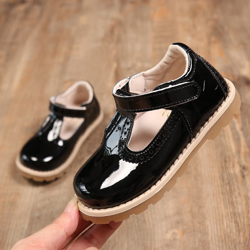 JUSTSL 2018 Spring new girls leather princess shoes children British retro leather shoes kids casual toddler shoes size 21-30 - thefashionique