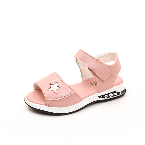 JUSTSL Girls Sandals 2019 New Summer Princess Shoes Kids Fashion Sandals Children's Beach Non-slip Shoes Size 27-37 - thefashionique