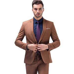 Jacket+Pants Brown Green Burgundy Black Pink Suits Men 2018 Brand Slim Fit Groom Wedding Suit Korean Fashion Party Prom Wear - thefashionique