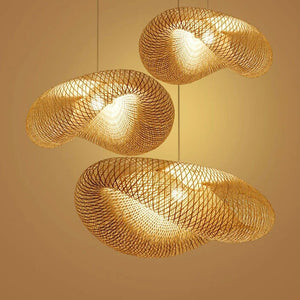 Japanese Handmade Bamboo Weaving Pendant Lights Restaurant Hotel Coffee dining room wood Hanging Lamps light Fixture